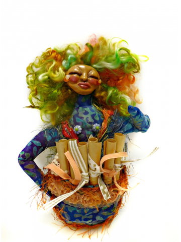 The Wild Woman and her Pocket of Love - OOAK Cloth and Clay Art Doll for Women's Empowerment