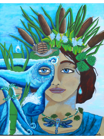 The Riverkeeper Original Painting of Goddess of Water with Headdress of Cattails 16x20