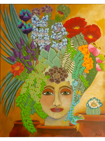 Southwest Desert Goddess with Headdress Original Canvas Painting 16x20 titled Cactus Blooms in Terracotta