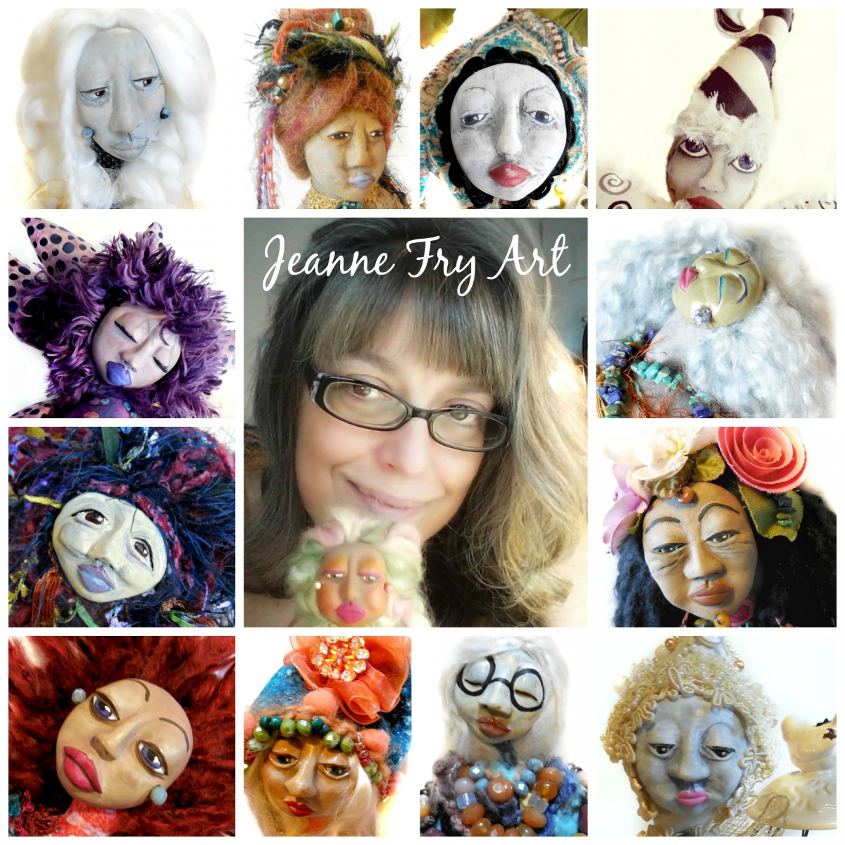 Jeanne Fry Art and her Wisdom Keeper Art Doll Collection