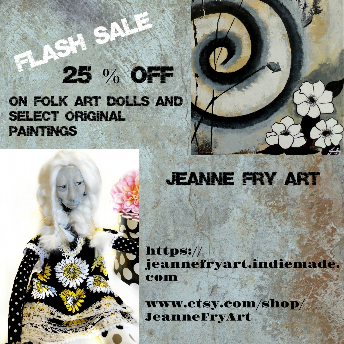 May Flash Sale on Folk Art Dolls and Original Paintings from Jeanne Fry Art